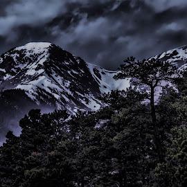 Colorado Mountains by Greg Harcharik - Landscapes Mountains & Hills ( evenning, mountains, olorado, white, black,  )