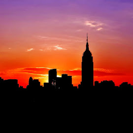 New York Sunset by Julian Wagner - City,  Street & Park  Skylines