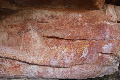 Fascinating depiction of a snake in Australian rock art. A great example of natural media expressing the natural world. Check out the many videos in the Artwork Details.