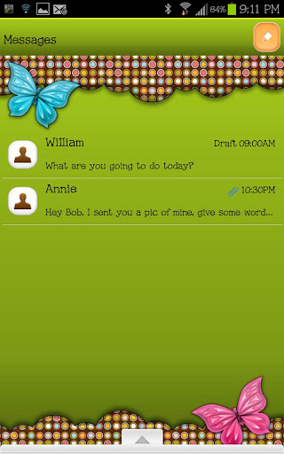 GO SMS - Retro Butterfly Dot