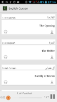 Screenshot of Qur'an with English audio