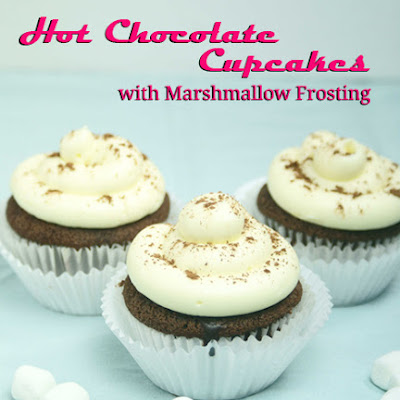 Hot Chocolate Cupcakes with Marshmallow Frosting filled with Chocolate Ganache