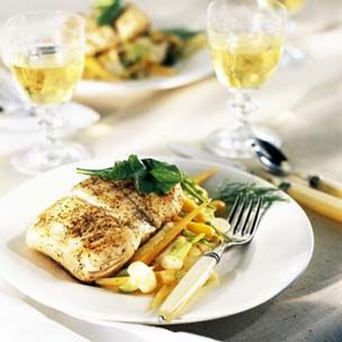 Pan-Seared Halibut with Sautéed Baby Vegetables