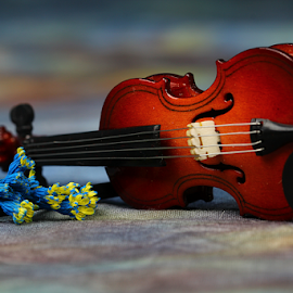 by Dipali S - Artistic Objects Other Objects ( music, song, violin, blue, sound, play, melody, flower )