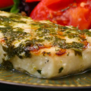Grilled Halibut with Garlic-Cilantro Sauce