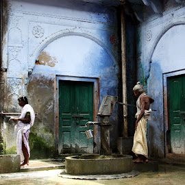 People by Shashi Sharma - City,  Street & Park  Street Scenes ( building, woman, street, rusty, old building, rust, old woman, rusty building )