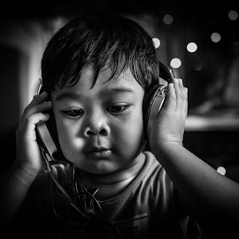 A Child in B & W by Myint Thu - Babies & Children Child Portraits