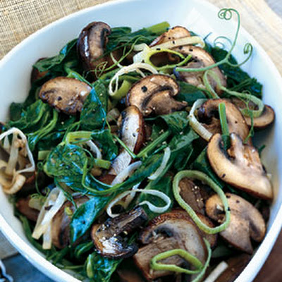 Pea Tendrils with Crimini Mushrooms and Leeks