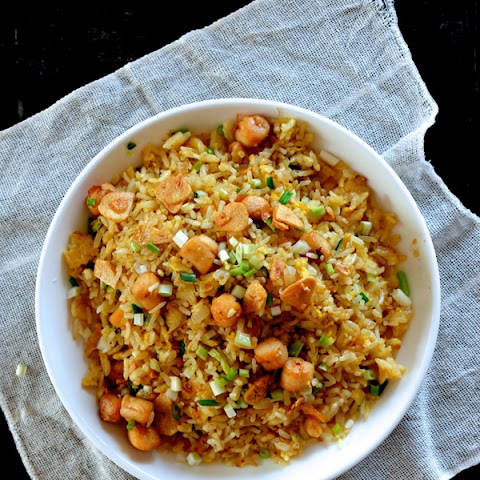 Scallop Fried Rice with XO Sauce and Crispy Garlic