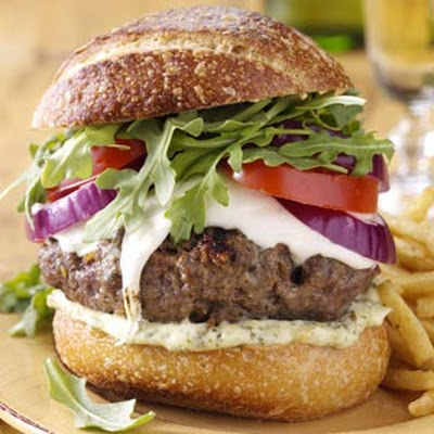 Tuscan Burgers with Pesto Mayo