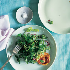 Pea Shoots, Crisped Pancetta, and Mint Vinaigrette