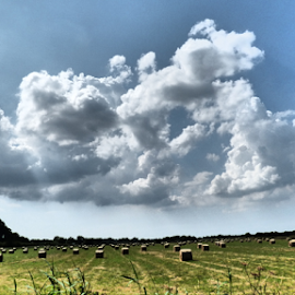 Big Somerset Skys by Ben Hobson - Landscapes Cloud Formations ( somerset, bales, cloud, somerset levels, fields )