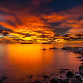 Rockin' On Ya Sunset by Eric Tai - Landscapes Sunsets & Sunrises ( clouds, waterscape, sunset, long exposure, beach, landscape,  )