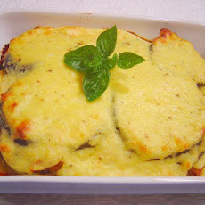 Moussaka With Halloumi and Ricotta Cheese Topping