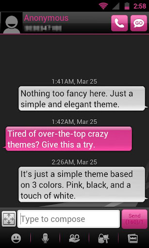 GO SMS THEME - Smooth Pink