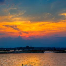 burning sunset by Tito Pradipta - Transportation Boats ( reservoir, indonesia, sunset, lake, boat )