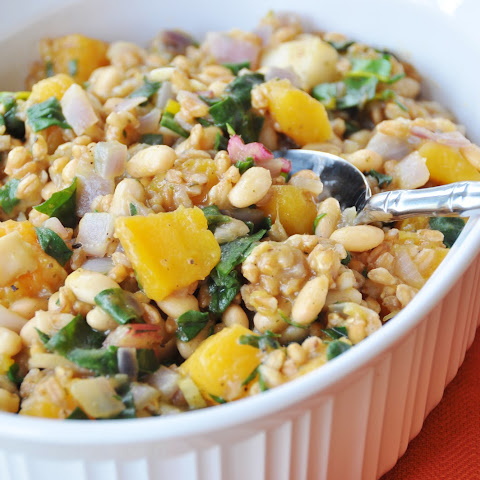 Farro with Butternut Squash and Rainbow Chard