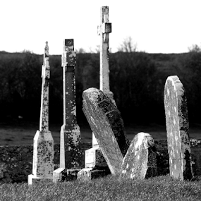 Three's A Crowd by Theodore Schlosser - Black & White Landscapes ( celtic, cemetery, cross,  )