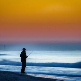 Fishing at Dawn by Lou Plummer - Digital Art People ( brunswick county, fishing, sunrise, fisherman, ocean isle )