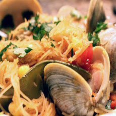 Skillet Pasta with Clams, Snow Peas, and Corn