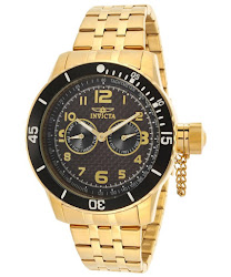 Invicta Men's Specialty Black Carbon Fiber Dial 18K Gold Plated Stainless Steel
