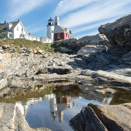 Pemaquid Lighthouse, Maine by Colin Gilyeat - Buildings & Architecture Public & Historical ( water, maine, pemaquid lighthouse, reflections, landscape,  )