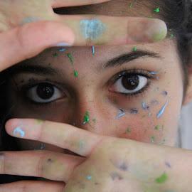 Hidden by Mady Sieracki - People Body Art/Tattoos ( model, girl, color, art, beautiful, paint )