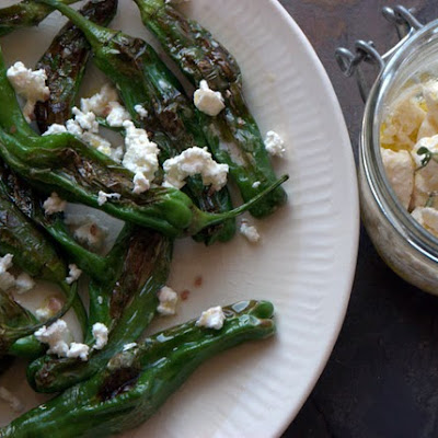 Pan-Roasted Shishito Peppers with Pickled Feta