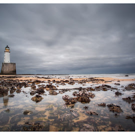 Rattray Head Lighthouse by Walter Evans - Landscapes Beaches ( exposure, water, clouds, canon, scotland, sand, camera, lighthouse, white, sea, rock, yellow, beach, landscape, 5dmkiii, lee filter, long exposure, rocks, light )