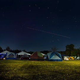 Camp Moonrise by Paul Haines - Landscapes Travel ( moon, camping, night camp,  )