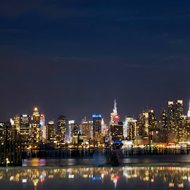 NYC reflections by Linda Antenucci - City,  Street & Park  Night
