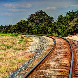 Around the Bend by Bonnie Davidson - Transportation Railway Tracks ( clouds, canon 6d, railroad tracks, sky, photograph, hdr, burnt orange, trees, transportation, railway tracks,  )
