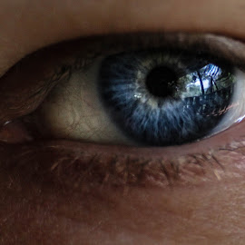 Julies beautiful eye....... by Frank Sr. - People Body Parts ( face, blue, lady, eyes, eye )