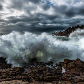 A storm is coming by Nick Venton - Landscapes Weather ( clouds, spray, waves, jersey, lighthouse, sea, ocean, storm, rocks )