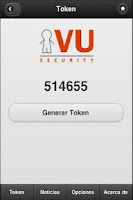 Screenshot of VU Security Mobile Token
