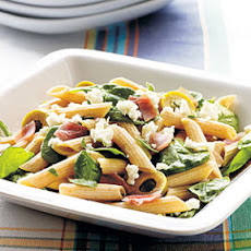 Prosciutto and Spicy Green Olive Pasta Salad
