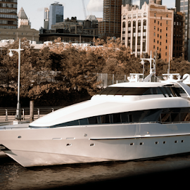 Yacht in New York by Alec Halstead - Transportation Boats