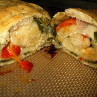 Pizza Stromboli with Spinach, Mushrooms, and Cheese