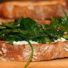 Bruschetta with Spicy Ricotta and Garlicky Greens