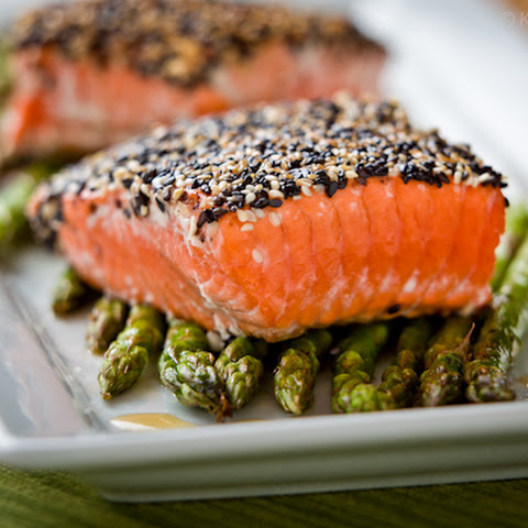 Sesame Salmon with Green Onions and Lemon Recipe | Yummly