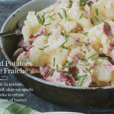 Smashed Red Potatoes with Creme Fraiche