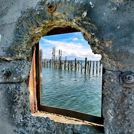 Water Window by Josh Fischl - City,  Street & Park  Historic Districts ( water, wood, window, grit, city )