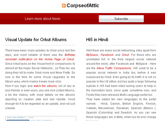 CorpseofAttic Feeds in Opera 9.6