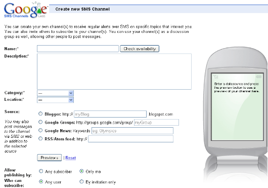 google-SMS-channels