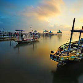 Shiny Day by Zainal CZmania - Transportation Boats ( sky, sunrise, beach, boat )