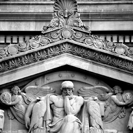National Archives Detail by Brook Steed - Buildings & Architecture Architectural Detail ( monochrome, black and white, carving, architectural detail, washington dc, public, historic )