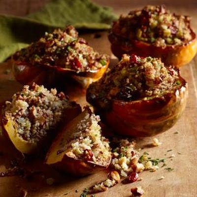 Roasted Acorn Squash with Quinoa and Red Rice Stuffing