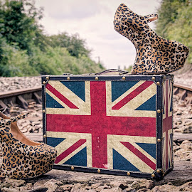 Have shoes will travel by Mark Keane - Artistic Objects Clothing & Accessories ( shoes, leopard print, railway, suitcase, union jack, artistic, object )