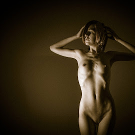 Akari by Peter McLean - Nudes & Boudoir Artistic Nude ( sepia, art nude, low key, shade, shadows, spotlight )