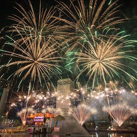 Fireworks in Mahajanaka the finale live show by Waraphorn Aphai - City,  Street & Park  Night ( bangkok, the finale, live show, thailand, fireworks, benjakiti park, mahajanaka )